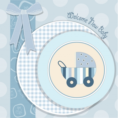 baby boy announcement card in vector format Illustration