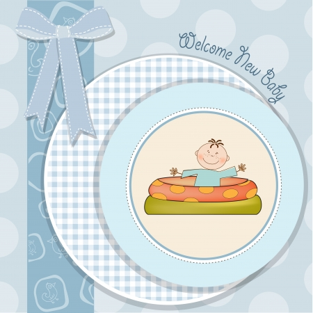 baby bathe in a small pool   shower announcement card Vector