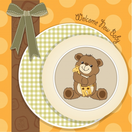 joyfulness: baby shower card with teddy bear and his toy, vector illustration