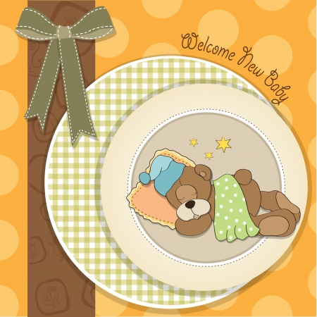 infant: baby shower card with sleeping teddy bear, illustration in vector format