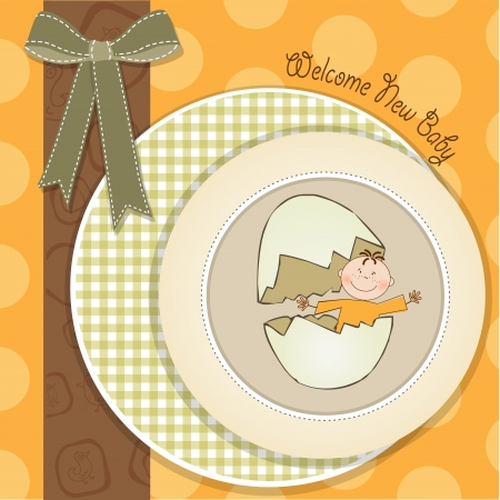 new born baby boy: baby shower card illustration in vector format