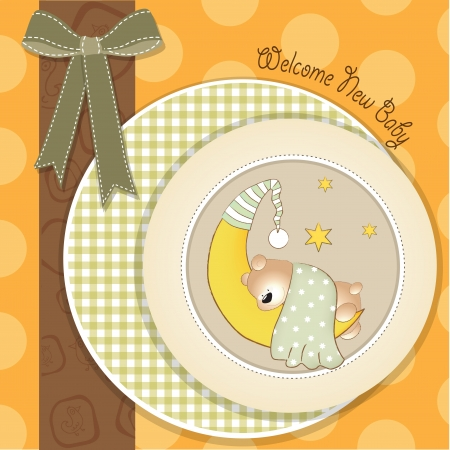 new baby arrived, shower card with teddy bear Vector