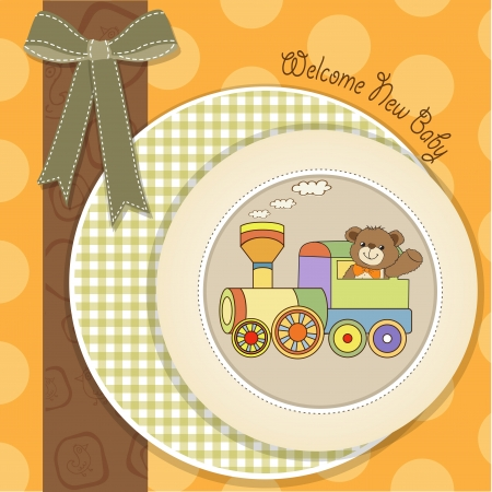 baby shower card with teddy bear and train toy, vector Stock Vector - 18150646
