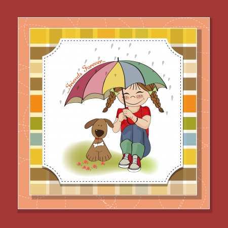 young pretty girl and her dog, friendship card in vector format Stock Vector - 18309568