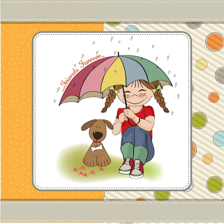 carelessness: young pretty girl and her dog, friendship card in vector format Illustration