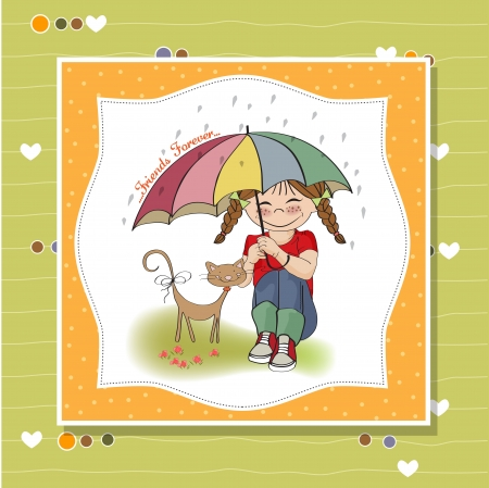 young pretty girl and her cat, friendship card in vector format Stock Vector - 18309552