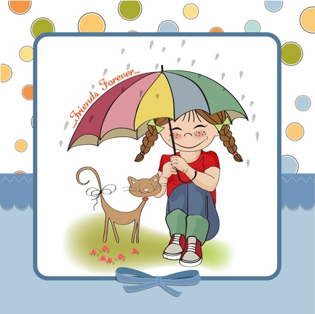 young pretty girl and her cat, friendship card in vector format Stock Vector - 18309556