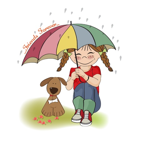 rain cartoon: young pretty girl and her dog, friendship card in vector format Illustration