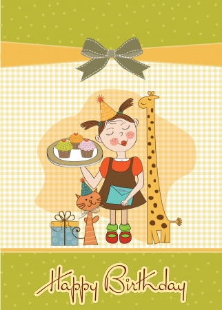 baker's: Happy Birthday card with funny girl, animals and cupcakes,  illustration