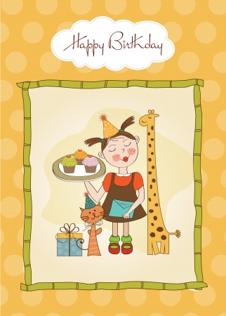 Happy Birthday card with funny girl, animals and cupcakes, illustration Vector
