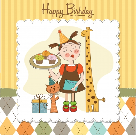children s: Happy Birthday card with funny girl, animals and cupcakes, illustration Illustration