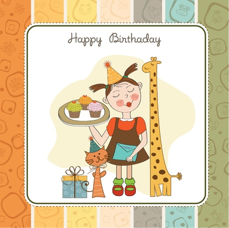 cat eating: Happy Birthday card with funny girl, animals and cupcakes, illustration Illustration
