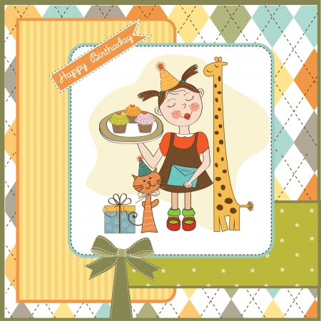 baker's: Happy Birthday card with funny girl, animals and cupcakes, illustration Illustration