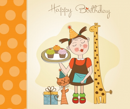 buttercream: Happy Birthday card with funny girl, animals and cupcakes, illustration Illustration
