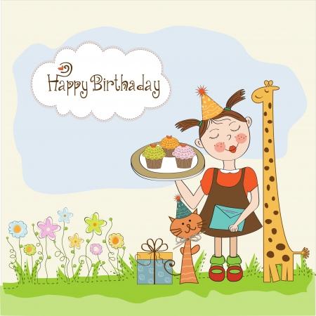 buttercream: Scheda di buon compleanno con la ragazza divertente, animali e cupcakes, illustrazione Vettoriali