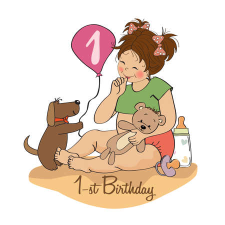 little girl at her first birthday, vector illustration Stock Vector - 18401104
