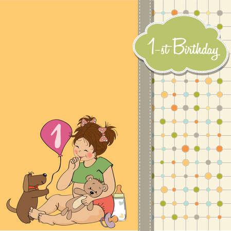 little girl at her first birthday, vector illustration Stock Vector - 18401093