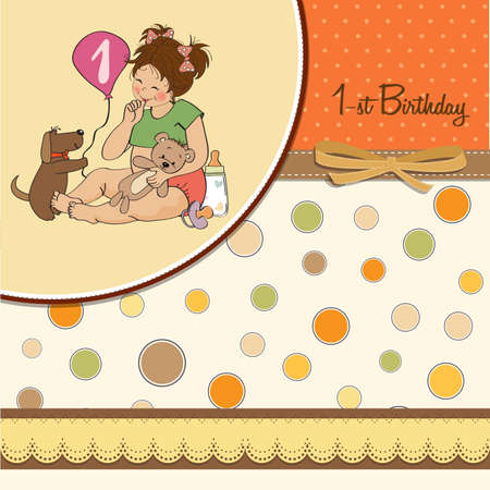 little girl at her first birthday, vector illustration Vector