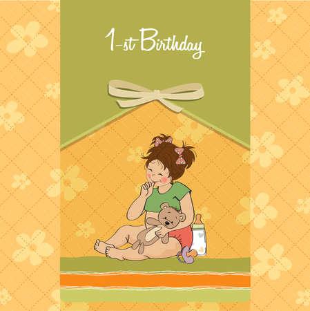 little girl at her first birthday, vector illustration Stock Vector - 18401099