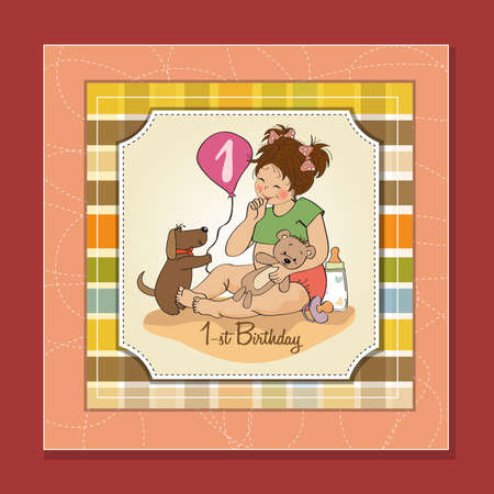 little girl at her first birthday, vector illustration Stock Vector - 18401094