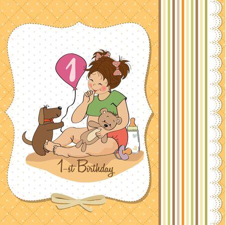 little girl at her first birthday, vector illustration Stock Vector - 18401101