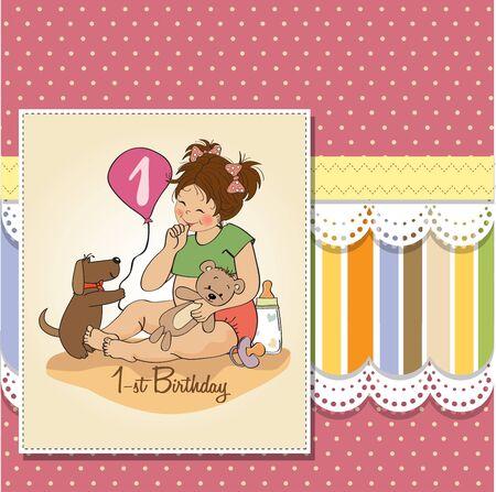 little girl at her first birthday, vector illustration Stock Vector - 18401098