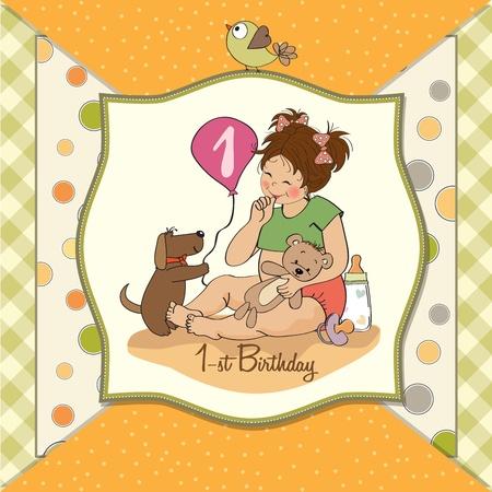 first birthday: little girl at her first birthday, vector illustration Illustration