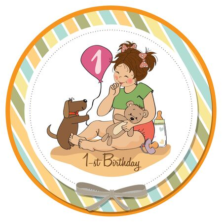 little girl at her first birthday, vector illustration Stock Vector - 18401105