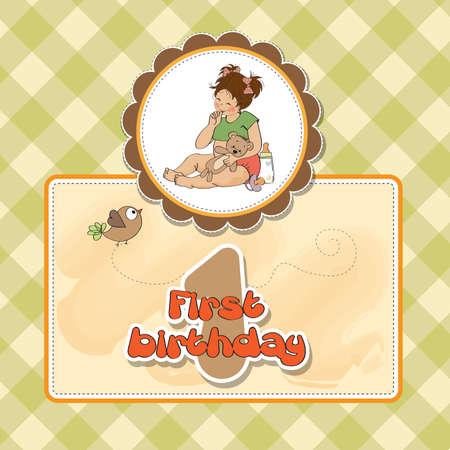 little girl at her first birthday, vector illustration Stock Vector - 18401096