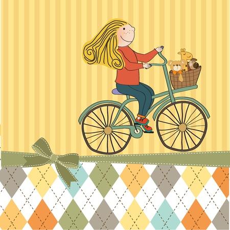 pedal: happy girl on bike Illustration