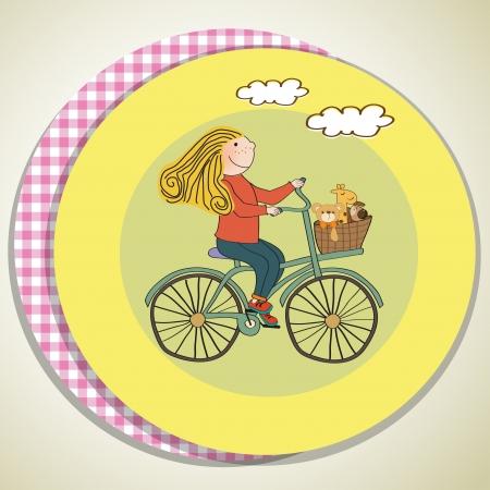 happy girl on bike, vector illustration Vector
