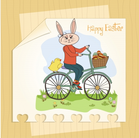 pedaling: Easter bunny with a basket of Easter eggs