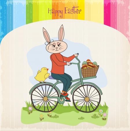 decorated bike: Coniglio di Pasqua con un cesto di uova di Pasqua, illustrazione vettoriale