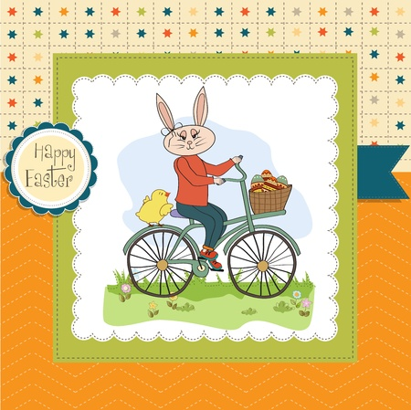 april clipart: Easter bunny with a basket of Easter eggs