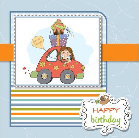 birthday card with funny little girl in vector format Stock Vector - 18570578