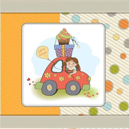 birthday card with funny little girl in vector format Stock Vector - 18570581