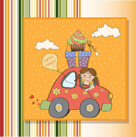 funny car: birthday card with funny little girl in vector format Illustration