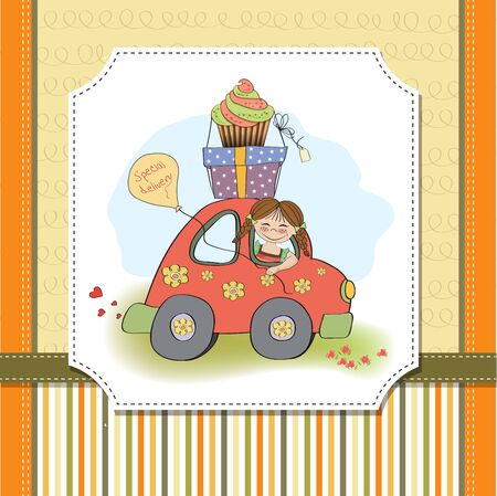 birthday card with funny little girl in vector format Stock Vector - 18570576