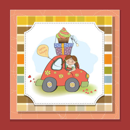 birthday card with funny little girl in vector format Stock Vector - 18570577