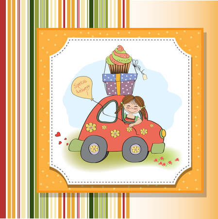 birthday card with funny little girl in vector format Stock Vector - 18570595