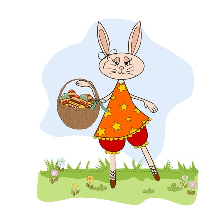 april clipart: Easter bunny with a basket of Easter eggs,  illustration