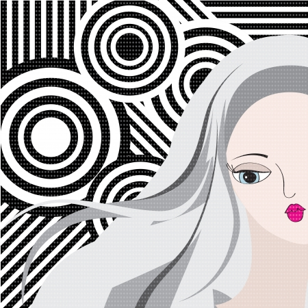 Retro style portrait of a young woman, vector illustration Vector