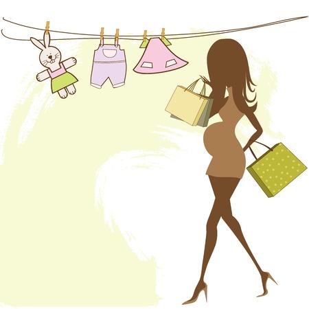 awaiting: beb� anuncio de la tarjeta con la mujer embarazada hermosa en las compras
