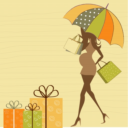 black baby girl: baby announcement card with beautiful pregnant woman on shopping