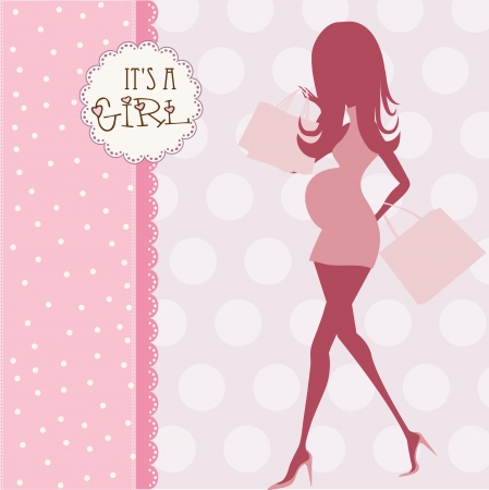 baby announcement card with beautiful pregnant woman on shopping Vector