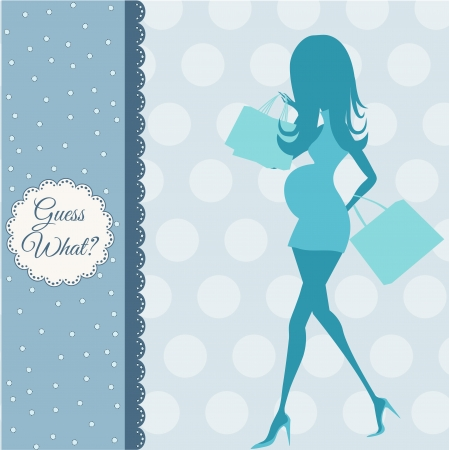 black baby boy: baby announcement card with beautiful pregnant woman on shopping