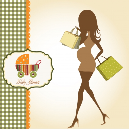 pregnant black woman: baby announcement card with beautiful pregnant woman on shopping