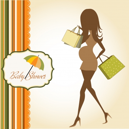 pregnant mom: baby announcement card with beautiful pregnant woman on shopping