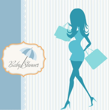 baby announcement card with beautiful pregnant woman on shopping Stock Vector - 18853611