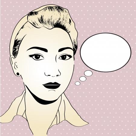 pop art woman: vintage pop art girl in vector format